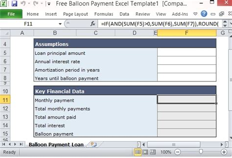 Free Balloon Payment Calculator Excel Template Form Excel Assumptions Template
