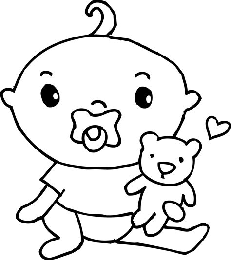 cute baby boy coloring page free clip art