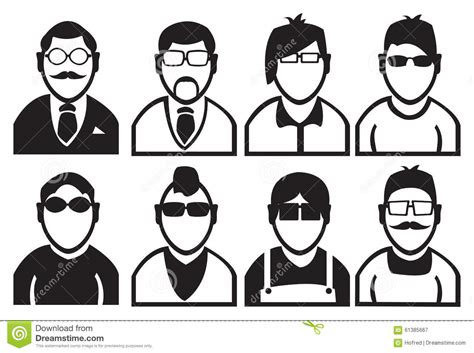 black  white men fashion vector icons stock vector
