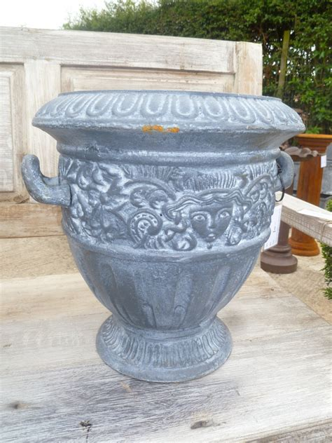 cast iron planter with handles small in garden urns