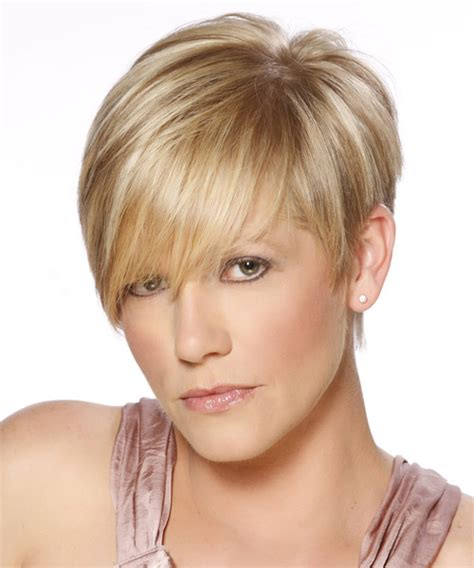 hairstyles dark blonde short straight formal hairstyle with side swept bangs