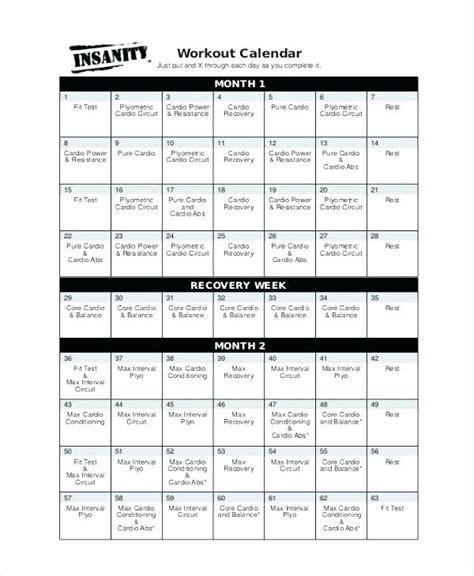 Insanity Calendar Excel