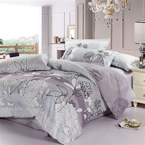 gray and purple bedding purple and grey bedding sets floral collection 4