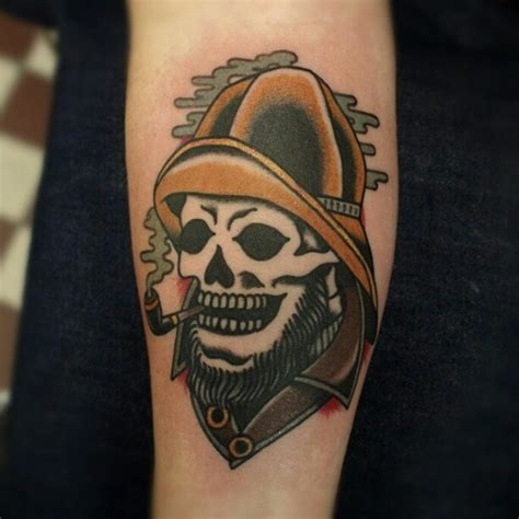 pipe tattoo designs fisherman skull a pipe traditional style