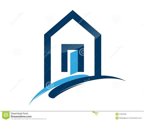 blue house realty house home real estate logo blue architecture symbol