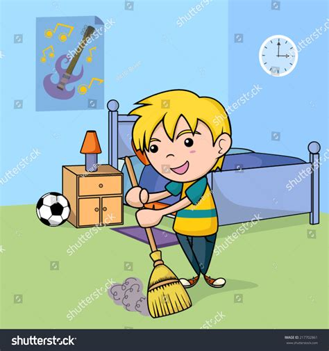 good music to clean the house to child cleaning bedroom vector illustration stock vector 217702861 shutterstock