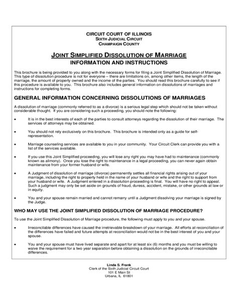 Joint Simplified Dissolution Of Marriage Illinois Free Download Marriage Dissolution Agreement Template