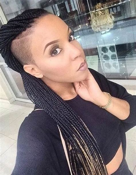 cornrows with shave sides african american box braided hairstyles for black women 15 inventive box