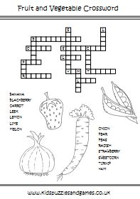 printable crossword puzzles vegetables fruit and vegetable kids puzzles and games
