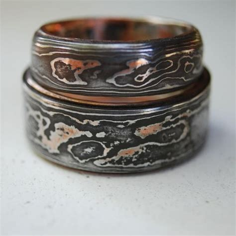 pattern welding ring hand made pattern welded damascus woodgrain wedding band