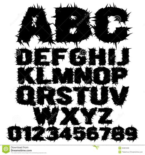 studded grunge scary alphabet stock vector illustration