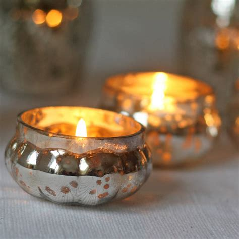 tea light holder mini mercury silver tea light holder by the wedding of my
