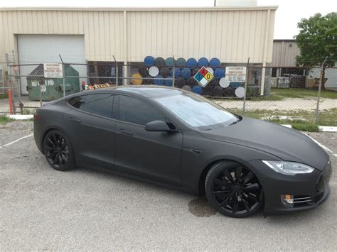 Tesla Model S Blacked Out 2013 Tesla Model S P85 3m Matte Black Blacked Out Chrome