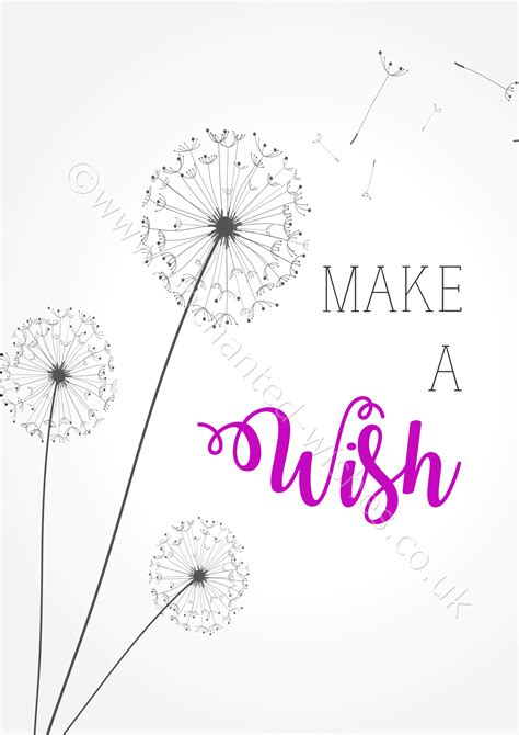 make a wish quote typography dandelion print