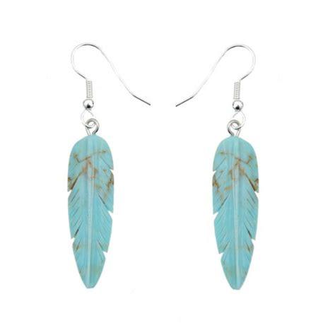boucles d oreilles plumes turquoise et argent boutique