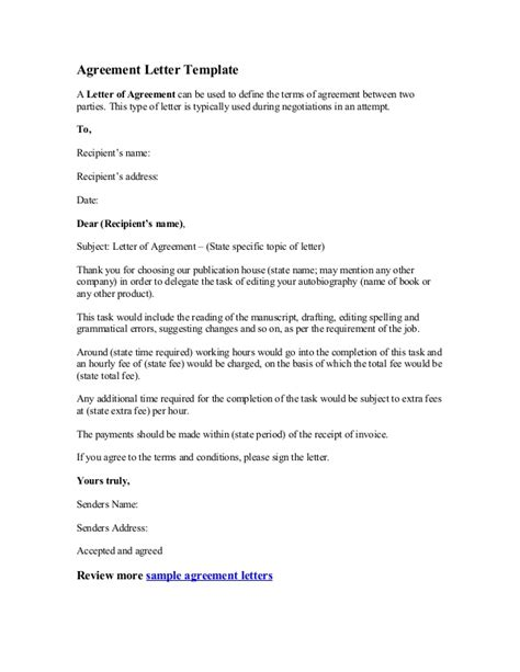 Letter Of Agreement Template Agreement Letter Template