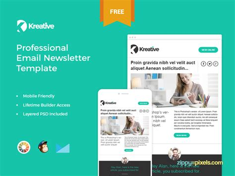 Free Sle Newsletter Templates Kreative Free Email Newsletter Template By Zippypixels Dribbble