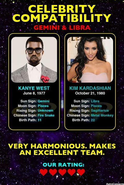 what s your celebrity zodiac match up kanye west gemini kim kardashian libra famous