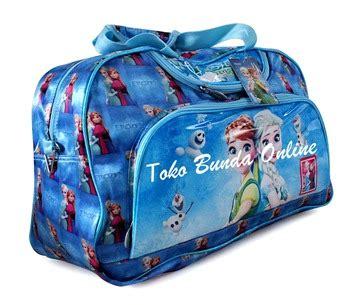 Travel Bag Anak Motif Frozen Fever Bahan Kanvas Black Limited travel bag tenteng toko bunda