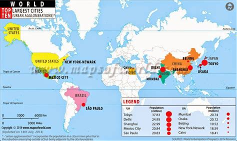 world map largest cities knowlege guru top 10 cities in the world