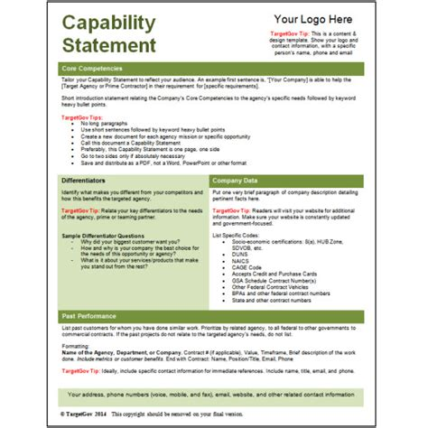 capability statement template capability statement editable template green targetgov