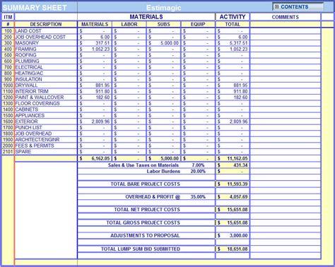 Cost Estimation Construction Worksheets