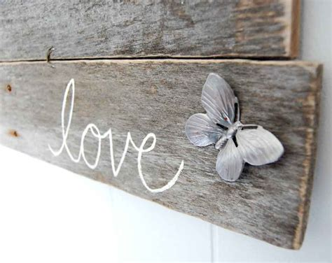 upcycled shabby chic sign love wall decor butterfly beach