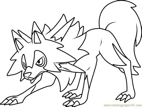 Coloring Pages Pokemon Sun And Moon | lycanroc midday form pokemon sun and moon coloring page
