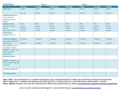 sleep diary template care plans plans health navigator new zealand