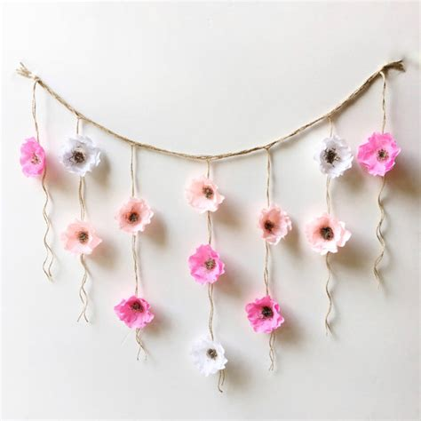 How To Make Hanging Paper Flowers - boho paper flower wall hanging nursery wall decor wall