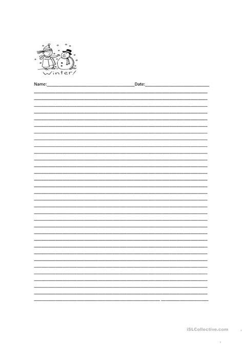 printable winter writing paper elementary decorative line paper worksheet free esl printable