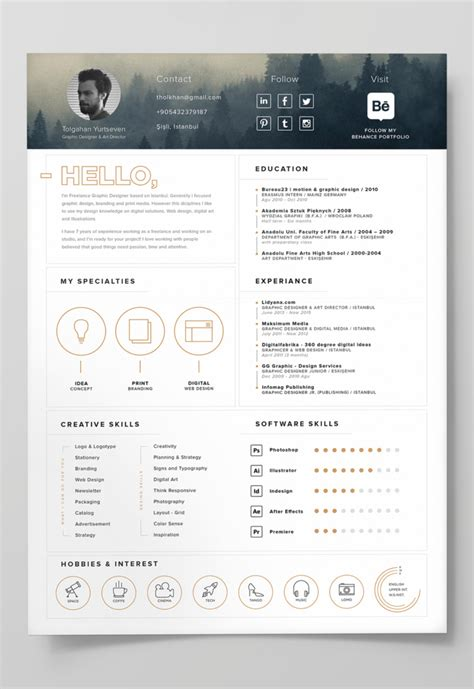 illustrator template 7 free editable minimalist resume cv in adobe illustrator