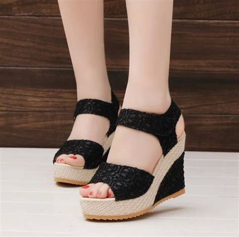 Wedges Fashion Sandal High Heels Hitam Simpel Flat Shoes Murah 25 brilliant shoes wearing playzoa