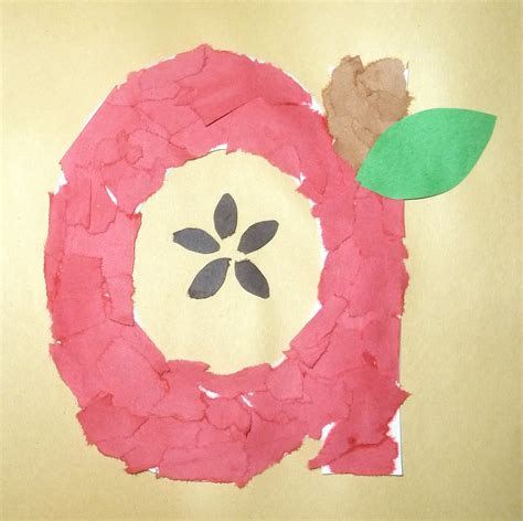 Paper Apple Crafts - torn paper apple craft