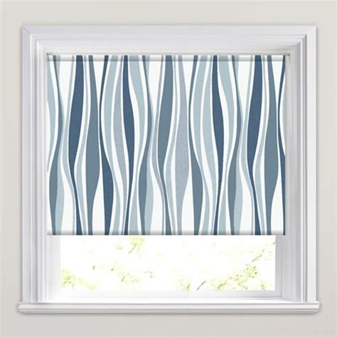 white patterned roller blind blue grey white swirling twisting striped patterned