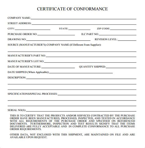 certificate of conformance template word 20 certificate of conformance templates sle templates