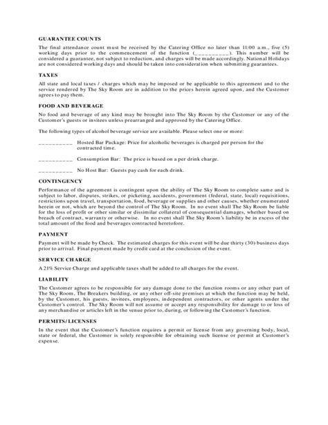 Catering Contract Format Free Download Tentative Agreement Template