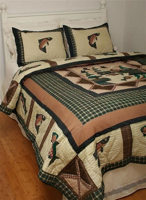 Krissy Cabin Bed by Lodge Cabin Woods Trout Fish Quilt Quilting