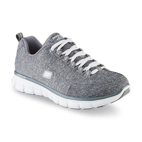 skechers s spot on gray white athletic shoe