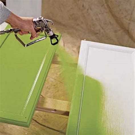 good action of spray painting kitchen cabinets soft coloring