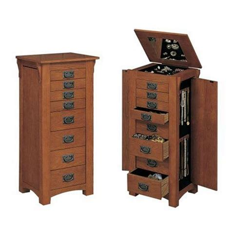 powell mission oak jewelry armoire powell 8 drawer mission oak jewelry armoire furniture 255
