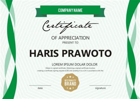 certificate design ai file free download green stripes certificate template design vector vector
