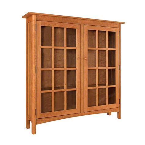 Bookcase Glass Doors by Solid Wood Shaker Style Bookcase With Glass Doors High