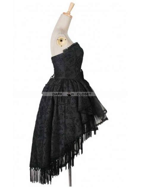 pattern gothic dress punk rave black floral pattern tassel high low gothic