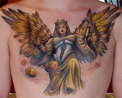 colored angel tattoo chest tattoos page 15