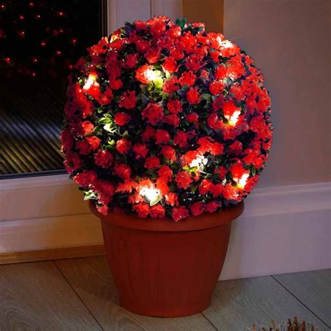 artificial topiary balls with solar lights red rose solar powered topiary ball with 20 led solar