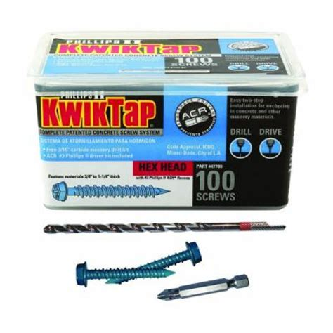 kwiktap 1 4 in x 2 1 4 in hex concrete screws 100