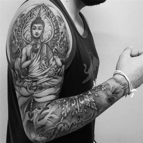 black ink tattoos for men free black ink buddha sitting on flower