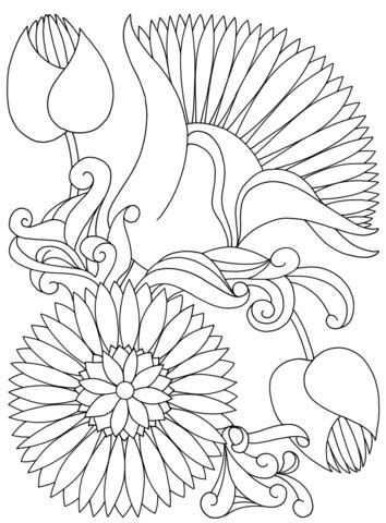 coloring pages abstract flowers abstract flowers coloring page free printable coloring pages
