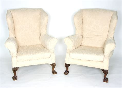 loose covers for armchairs a pair of wingback armchairs on carved claw and ball feet w